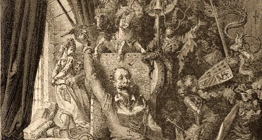 Grabado de Gustave Doré para el capítulo de la primera parte de El Quijote (fragmento)