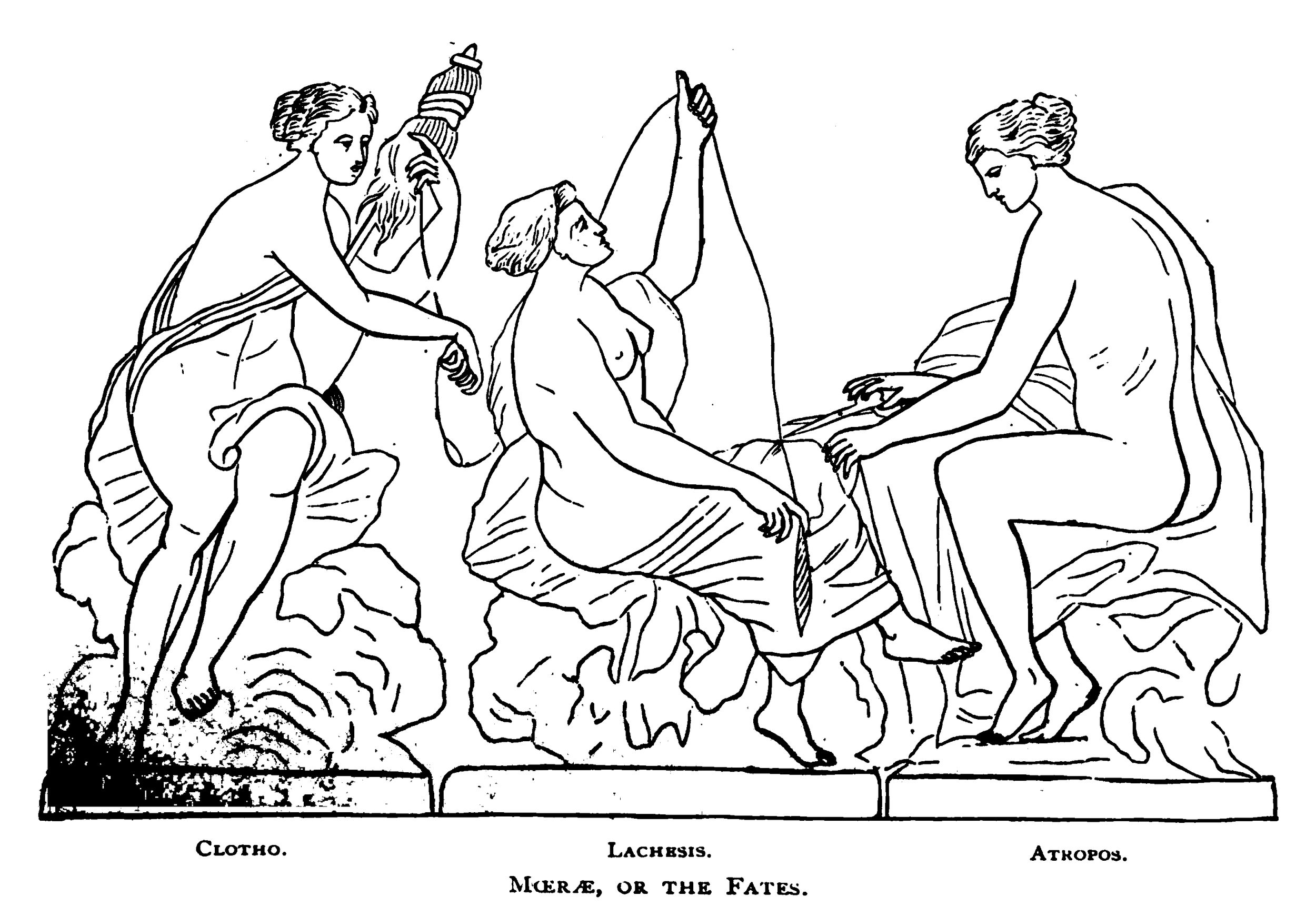 Moirae, or the Fates.  Greek Mythology Systematized  by Sarah Amelia Scull. Publisher: Porter & Coates, 1880. Pg. 314 (frg.)