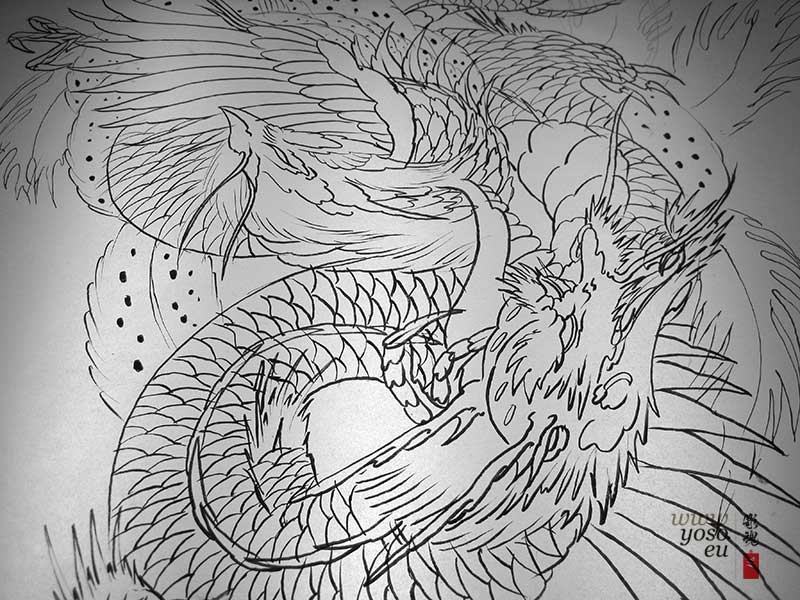 Phoenix Dragon Back Piece Tatoto Design