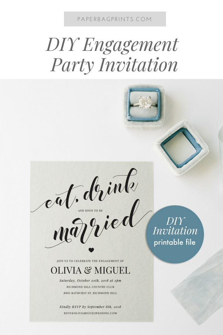 DIY Printable Engagement Invitation