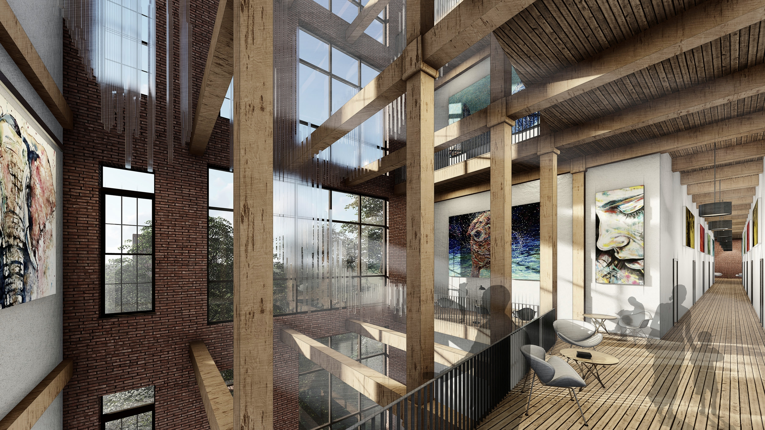 ATRIUM VIEW LOOKING WEST - OOMBRA ARCHITECTS ©