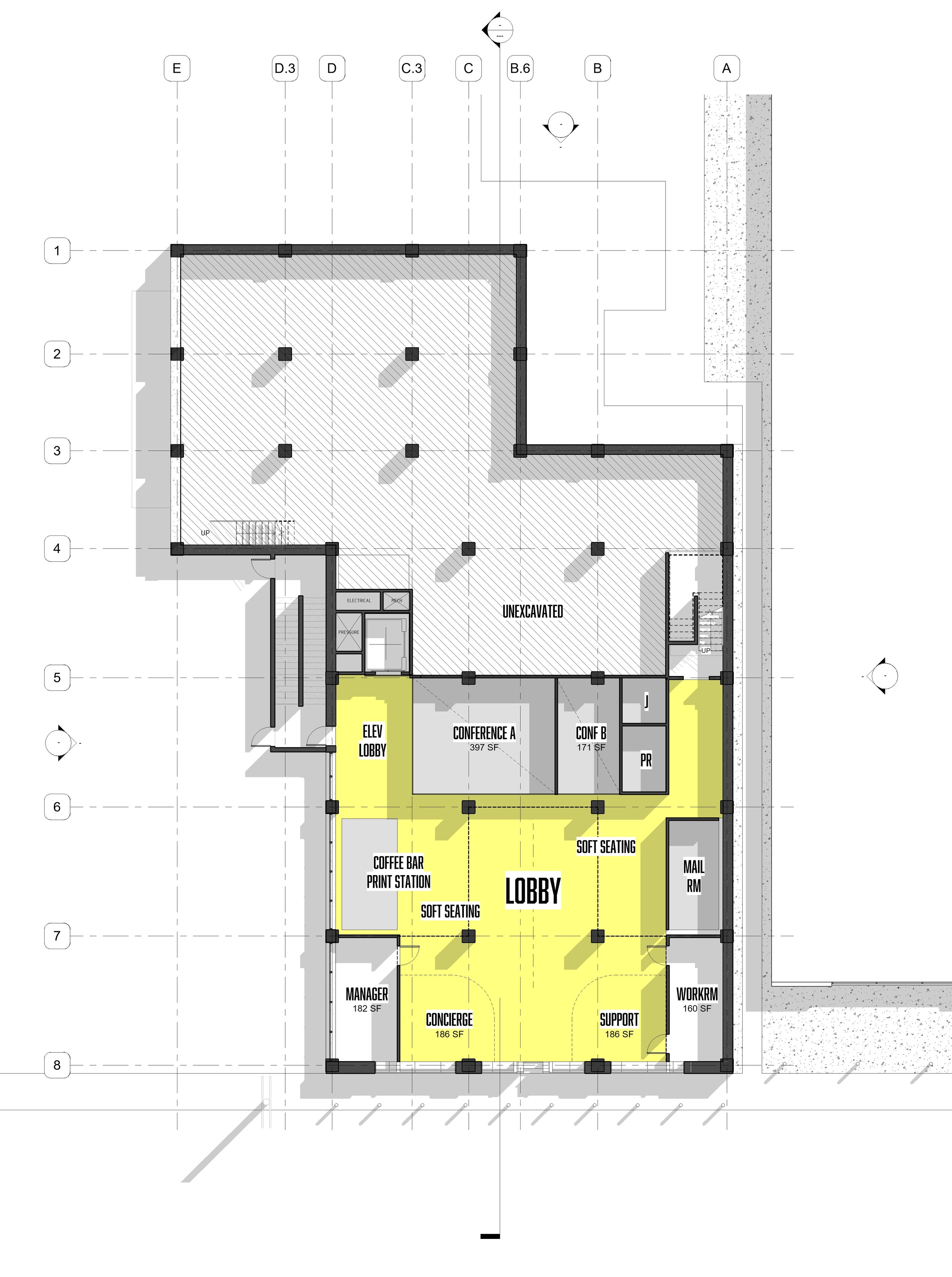 LOBBY LEVEL PLAN - OOMBRA ARCHITECTS ©
