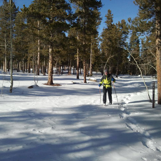 Kenosha Pass Trail - 7 mi Roundtrip | EasyJeffersonThe trail is well-marked and the snow is packed down by other snowshoers. Walk for as long as you like (the trail continues the length of the state) and view bare aspen groves, evergreens, and vast views of Park County. More Info >
