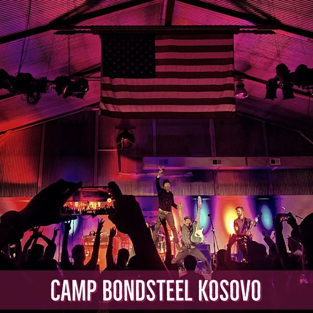 """Amazing vibes at Camp Bondsteel, last night. We love and appreciate you all. Thank you @armedforcesent it was an honor. Thank you to @fastballtheband for sharing it with us. Thank you @jae_robinson_ and @apathyowen for all your hard work. And as they say in Kosovo, """"bye"""". . . 📸 by @apathyowen . . #kosovo #litbandofficial #campbonsteel #fastball #armedforcesentertainment #bye #homebound #supportourtroops #america #freedom #4thofjuly"""