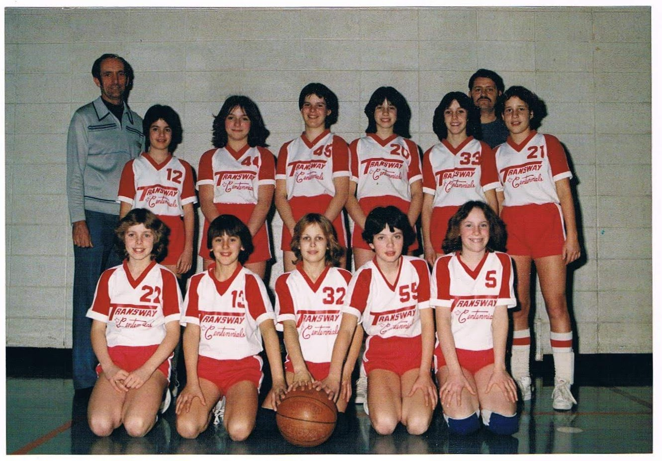 The first Transway Basketball team, 1979    Back Row:  Doug Harrison (coach), Barb O'Connor, Diane Jojic, Louise Feeney, Heather Long, Vicky Harrison, Brian Humes (Coach), Tina Gasparik   Front Row : Kathy Harrison, Lisa Ciancone, Lara Sears, Patty O'Brien, Nancy Dewar  Missing: Martina Krebs