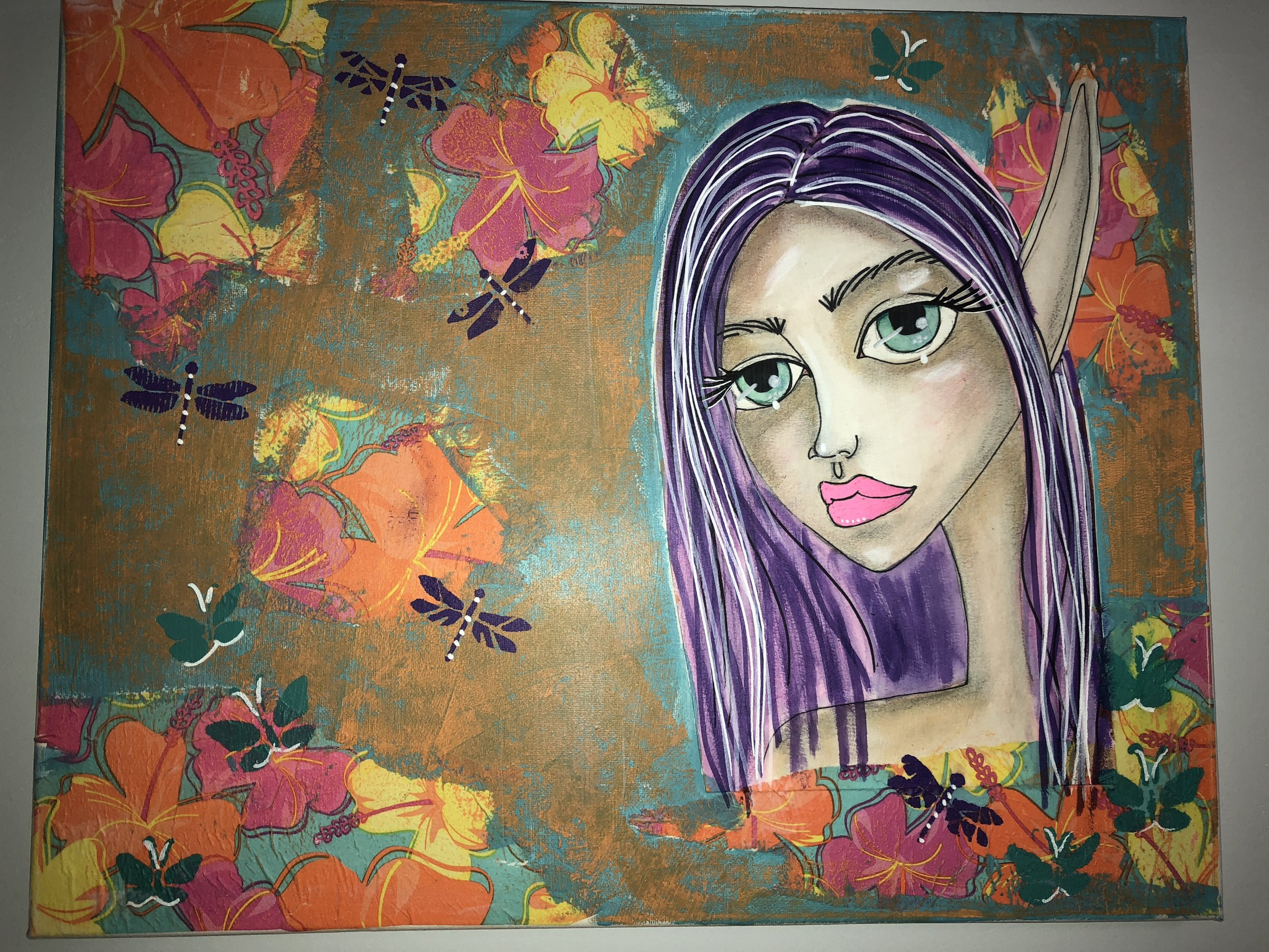 Mixed Media Project (watercolor fairy transferred to canvas). Lesson by Karen Campbell.