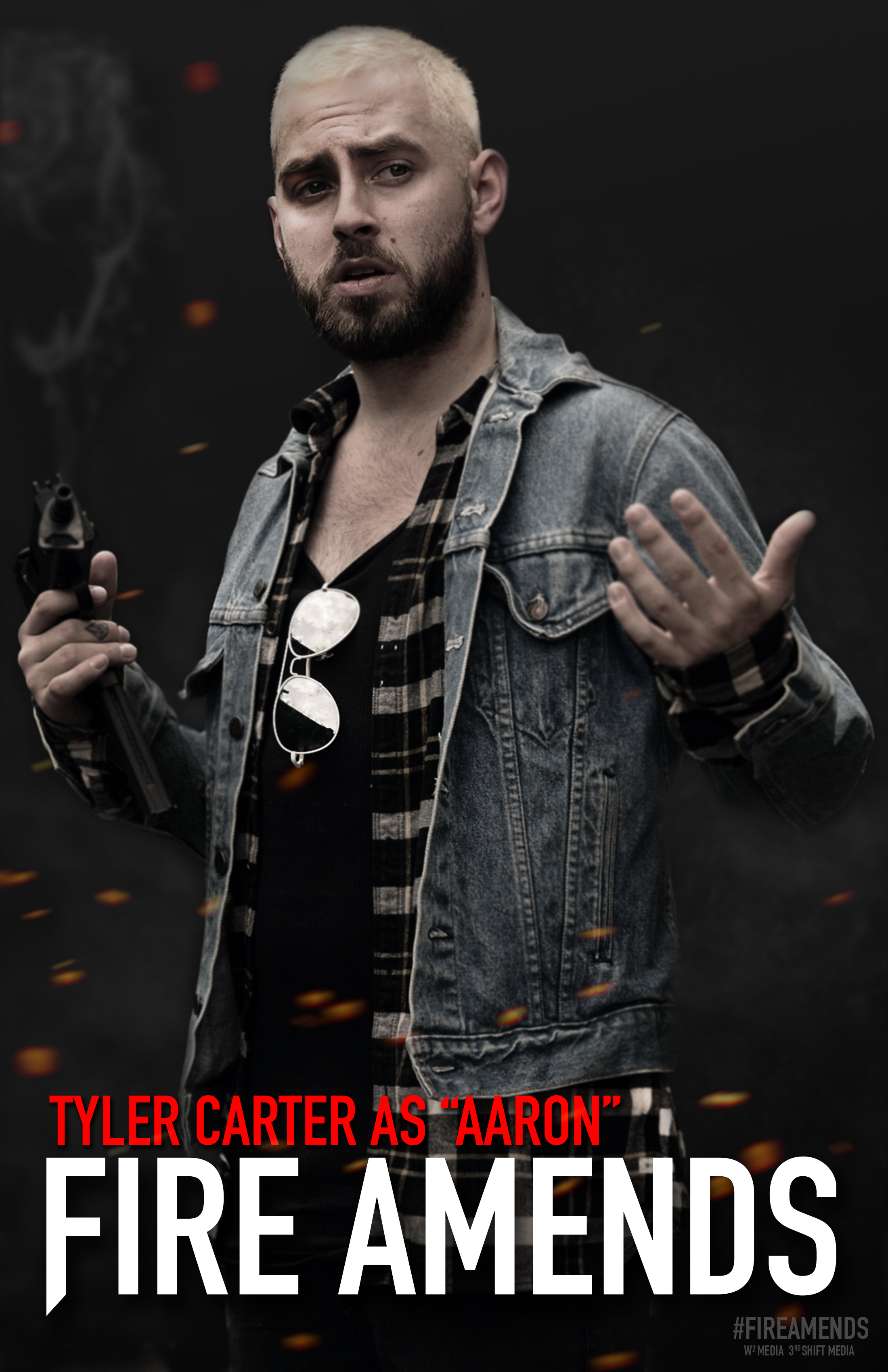 """Pre-Production promotional poster featuring musician Tyler Carter as """"Aaron"""" the arms dealer."""