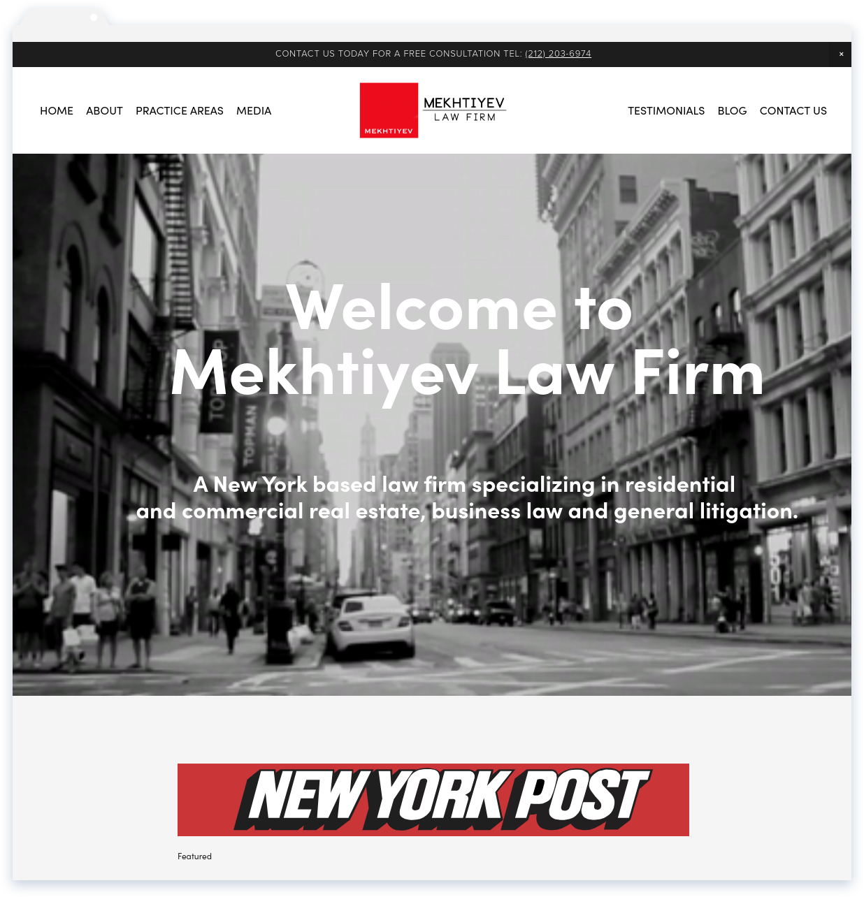 "Mekhtiyev Law, Law Firm - ""Lisa did an excellent job and made us stand out from most law firm websites. I am thankful for finding her."" - Mekhtiyev & Sons"