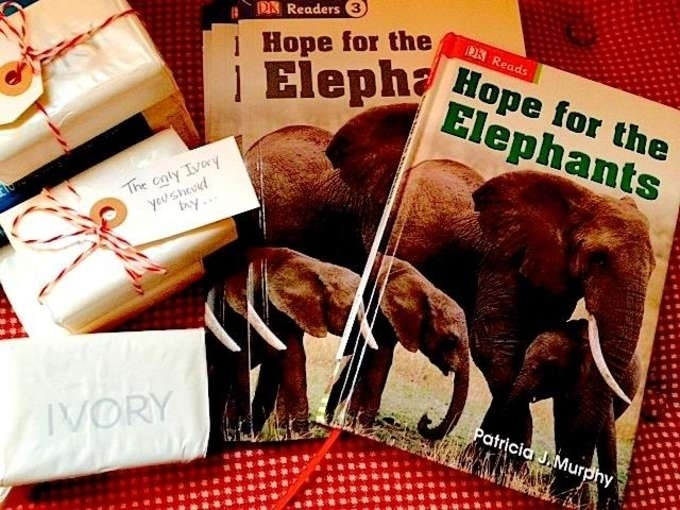"""Hope for the Elephant 's Early Chapter Book and Early Reader.  With each book, I give a bar of Ivory Soap with the tagline: """"Be the hope for the elephants--this is the only Ivory you should buy!"""""""
