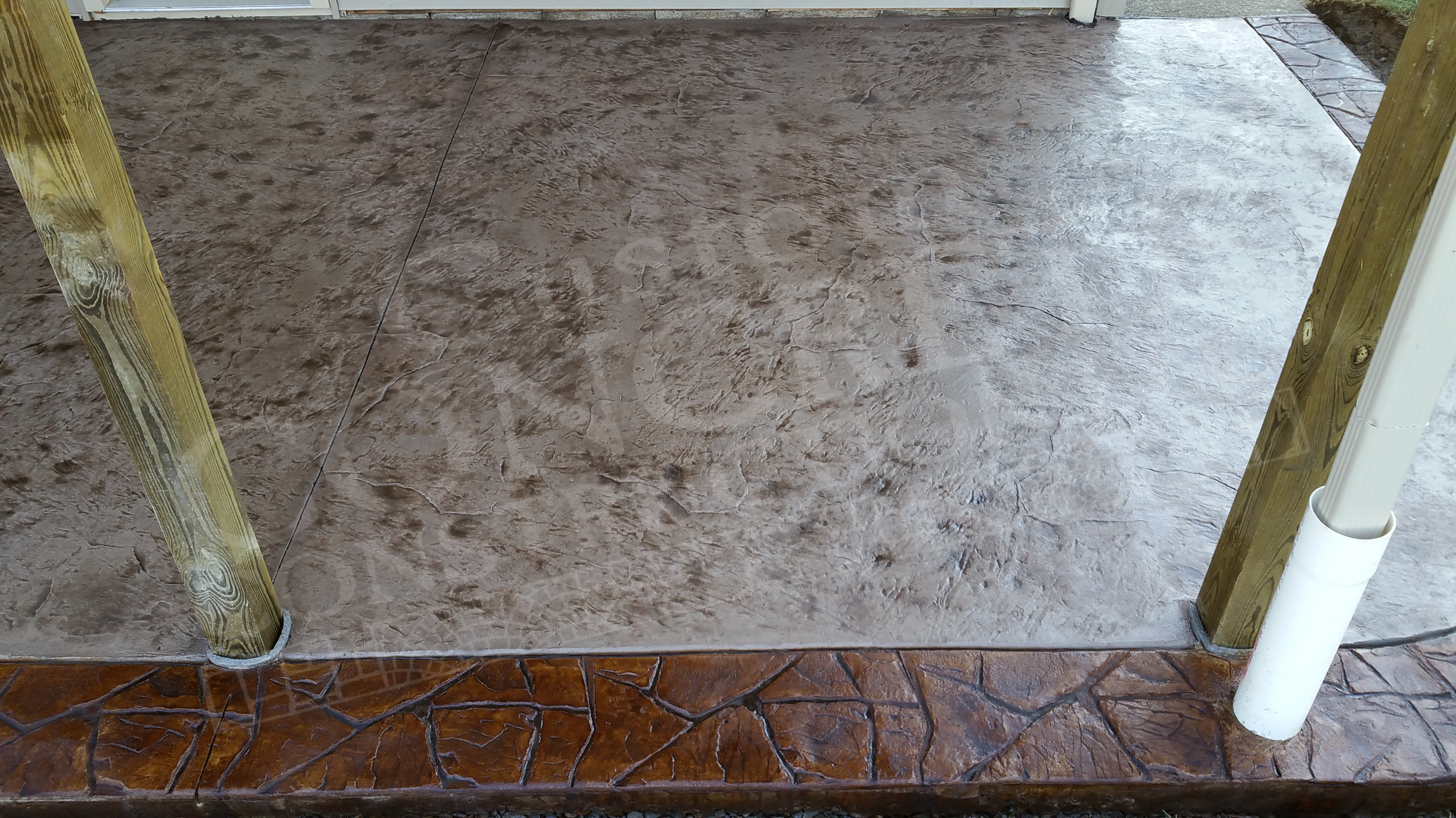 textured stamped interior with stamped canyon stone exterior border