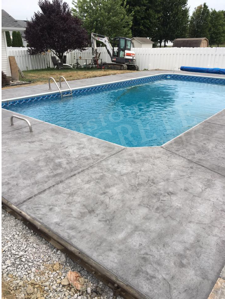 textured stamped pool patio