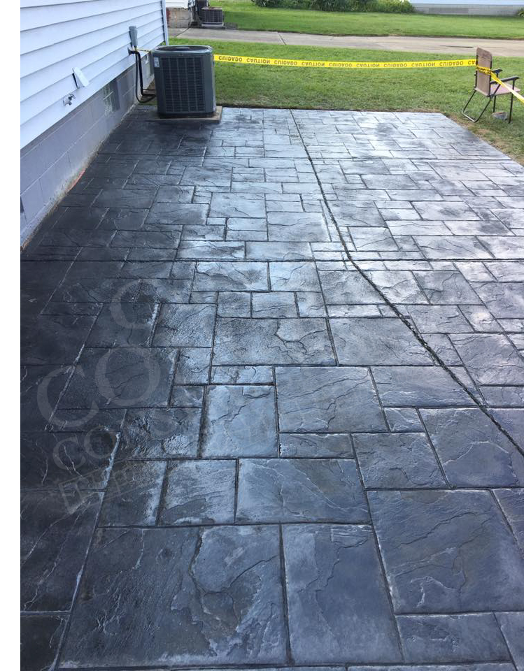 Stamped Patio completed at a Struthers home
