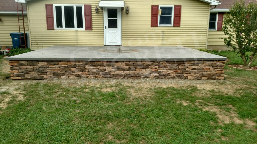 Raised Stamped Patio completed at a Lisbon home