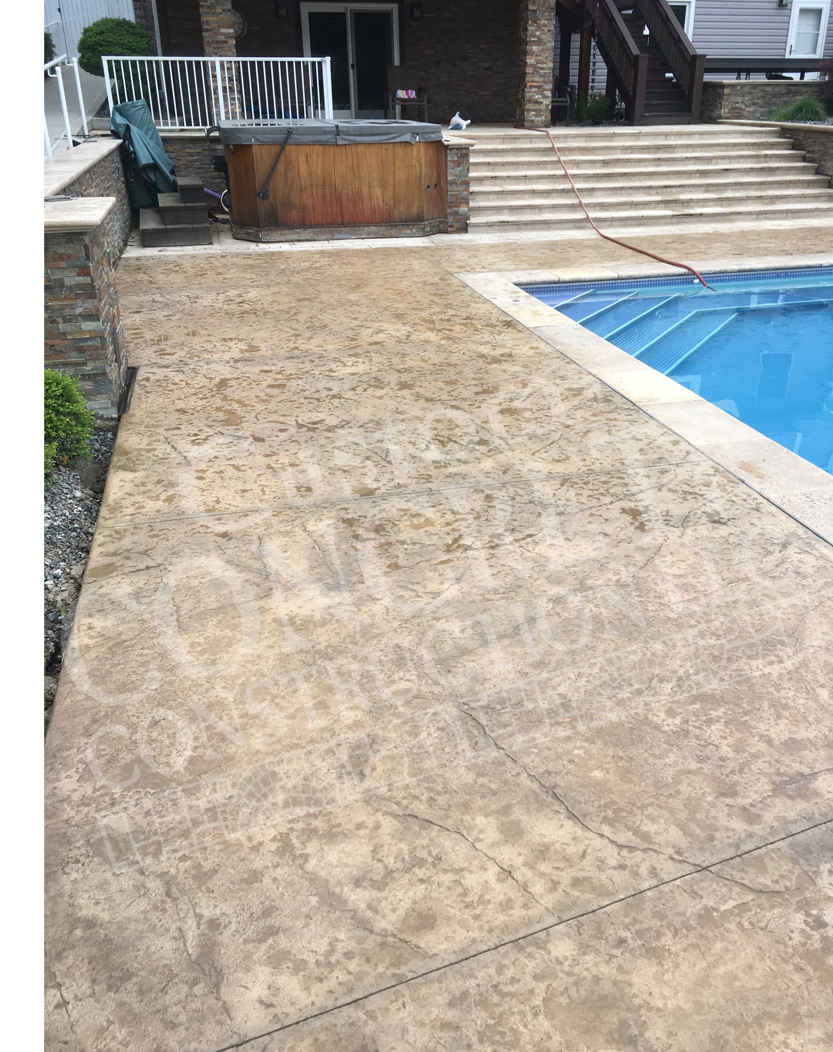 Textured Stamped Pool Deck completed at a Youngstown home