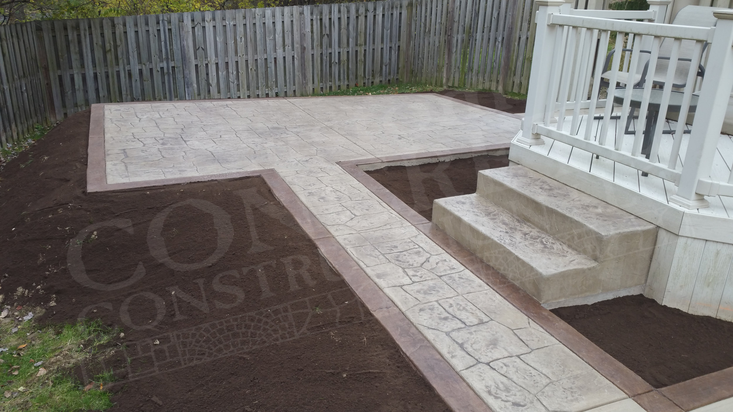 Stamped Patio, Sidewalk, and Steps completed at a Canfield home