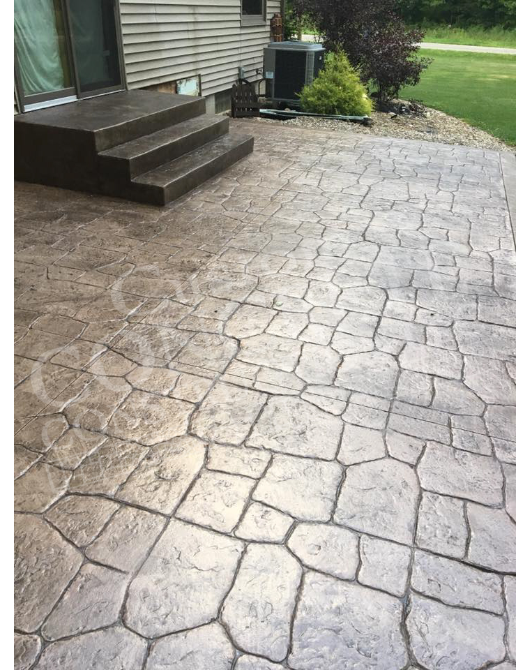 Stamped Patio and Steps completed at a Columbiana home