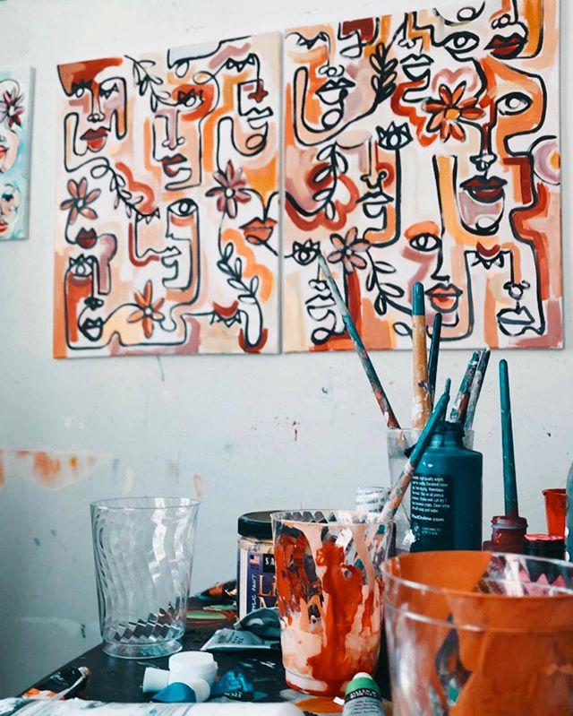 this 48x30 diptych is still for sale on morgangraystudio.com- link in bio ✨ . . . . #art #painting #abstractart #popart #portrait #coolart #oilpainting #acrylicpainting #instagramartist #artofvisuals  #srartwork #brartist #nowlaartist #neworleansartist #batonrougeartist #nolaart #nolastyle #neworleansart #neworleansstyle #paintedjacket #paintedjackets #watercolor #portrait #petportrait #watercolorportrait #504art #louisianaartist #painteddenim #paintedjeanjacket #painteddenimjacket #continuouslinedrawing #acrylicpainting