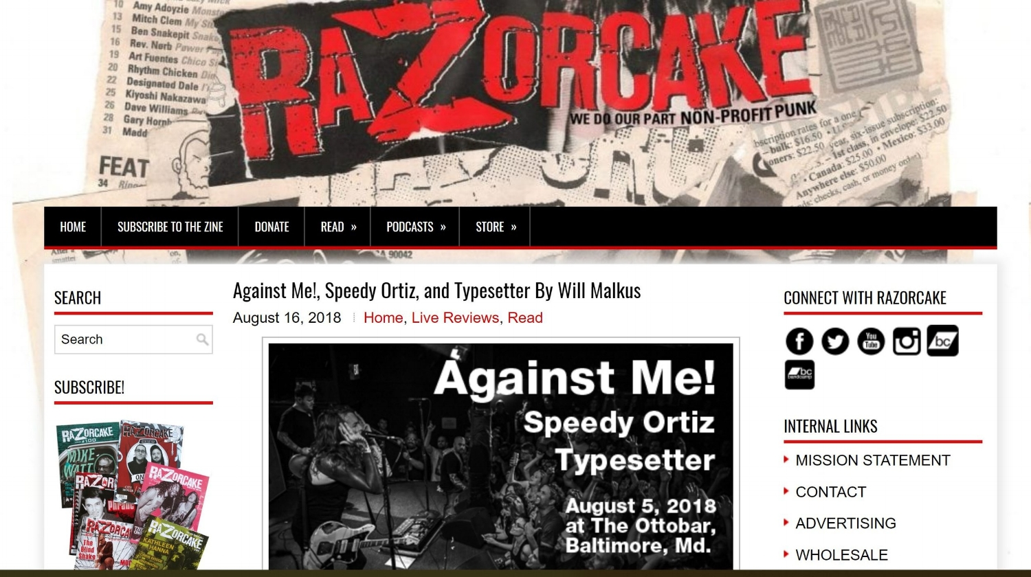 Against Me!, Speedy Ortiz, and Typesetter at the Ottobar - Live Music Review for Razorcake, 2018