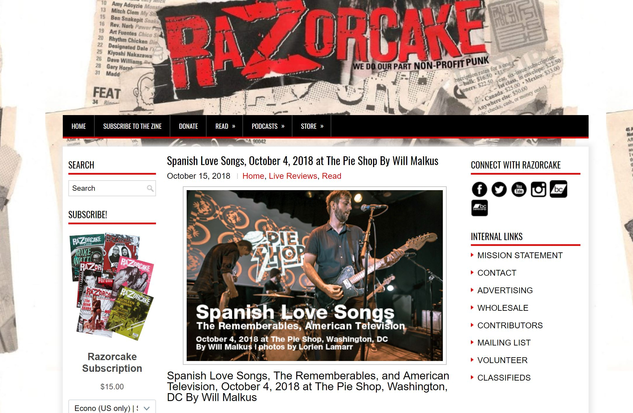 Spanish Love Song, The Rememberables, and American Television at The Pie Shop - Live Music Review for Razorcake, 2018