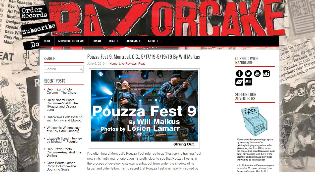 Pouzza Fest 9 - Fest Review for Razorcake, 2019