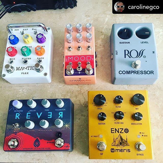 """What an incredible group of pedals to be included in. Surreal. • """"@carolinegco I've told this story before, about the times I've gone to see a band play, been blown away by a sound or tone they get, and then been a bit disappointed that it was from one of our own pedals. I end up thinking to myself """"duh, you dumbass narcissist, I bet you think your own farts smell like pumpkin spice too."""" When I go out to eat, my prime directive is to eat something I couldn't or wouldn't cook for myself. And when I get to play around with pedals, I'm lucky to be part of an industry of enthusiasts who all pursue different, magical, delicious things in their own way. I plan on disappearing down this rabbit hole next week, and filming/recording some of the magic to share. Stick around. Because these things are fucking cool."""""""