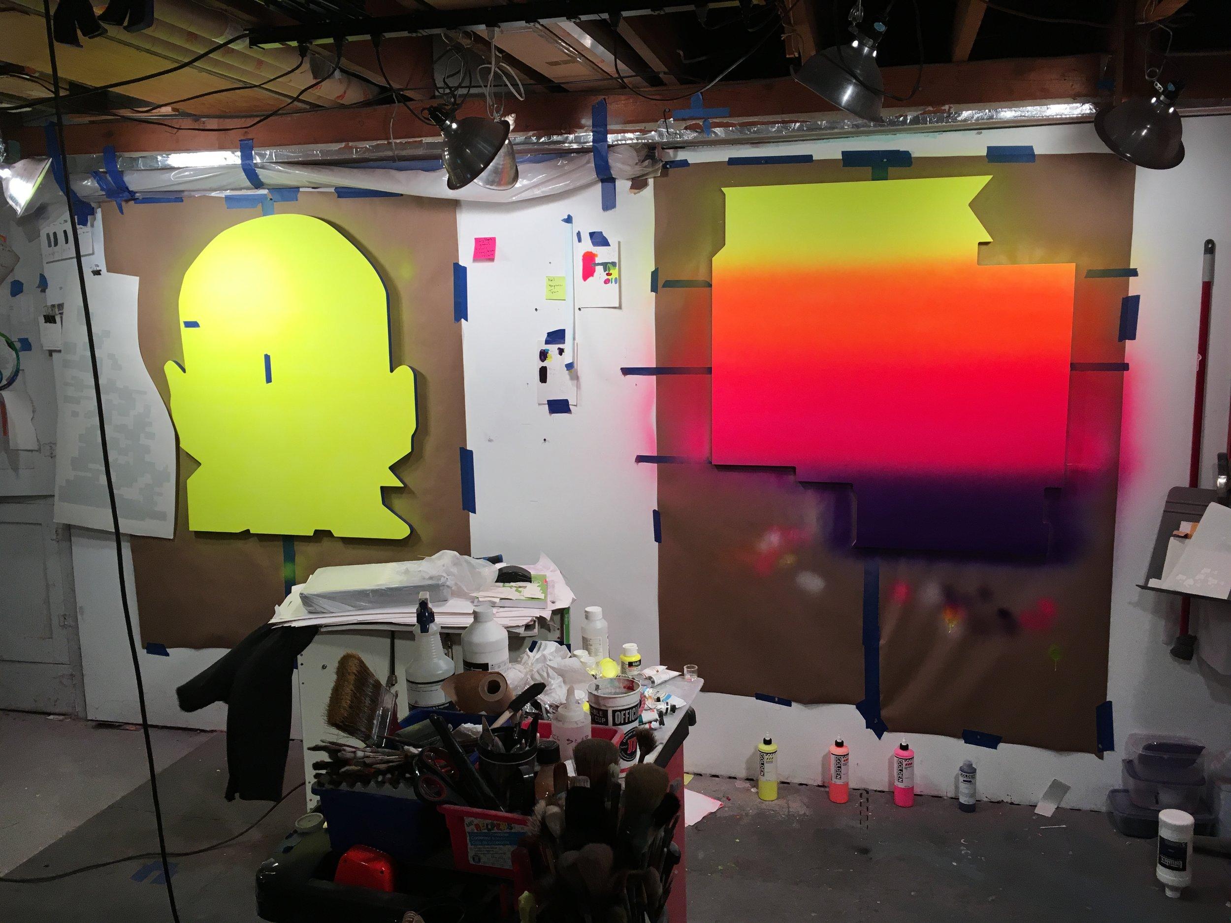 Studio view, January 2018...big paintings underway.