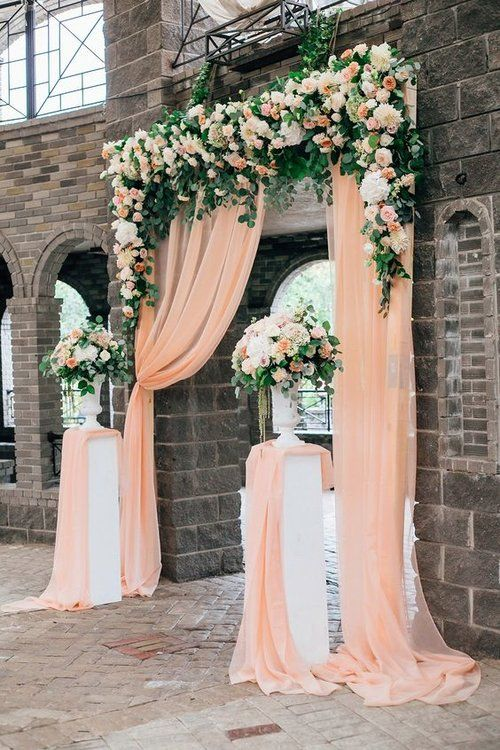 Feeling very peachy with this stunning entrance way or backdrop (multipurpose) is a fabulous option if you don't love how bright Coral can be, still a very lovely and pretty colour that looks just as great.  https://www.pinterest.ca/pin/692639617670258520/
