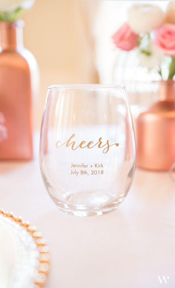 Personalized glasses are great as you can take them home and use daily!  https://www.pinterest.ca/pin/706080047799946749/