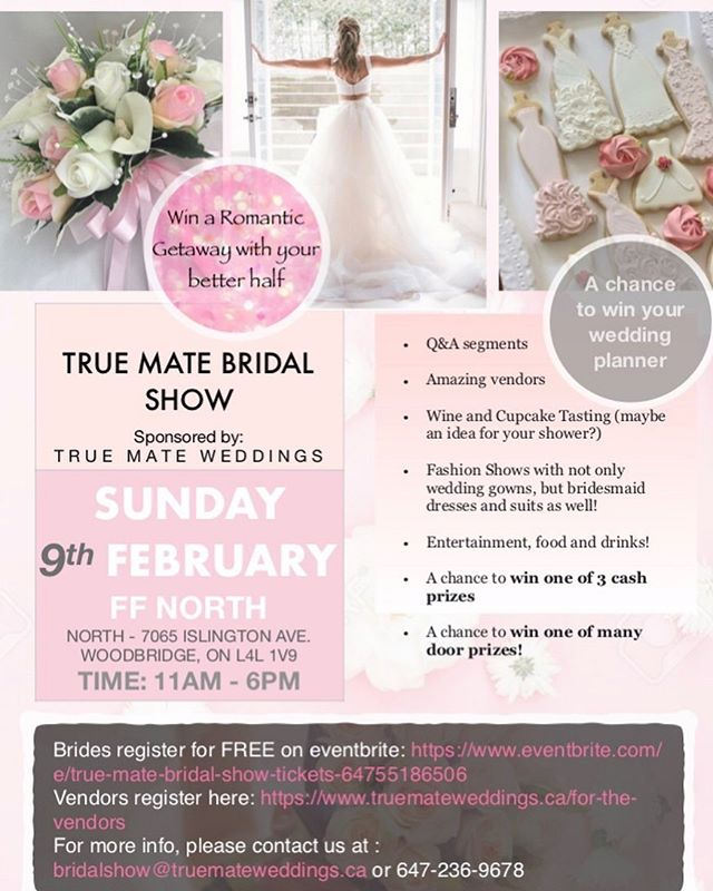 The free tickets are almost sold out!!! We are so excited to be launching our first bridal show and we are putting 100% into making it the best show! Seeing as it's a pre valentines themed show, you can look forward to seeing lots of pinks and red. Grab your girl friends or fiancé and register today before they are all sold out!