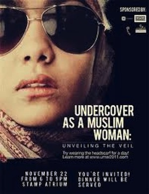 "Poster promoting the University of Maryland Muslim Student Association's inaugural ""Undercover as a Muslim Woman"" immersion. (Courtesy of Aleena Khan and Ainee Fatima)"