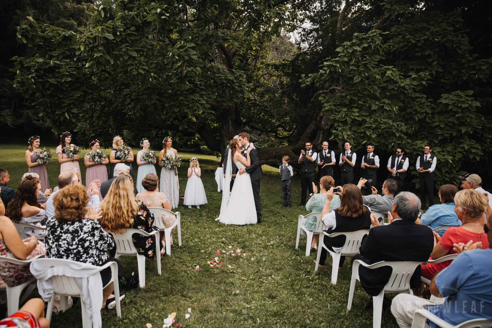 Hilltop in spring green wedding ceremony