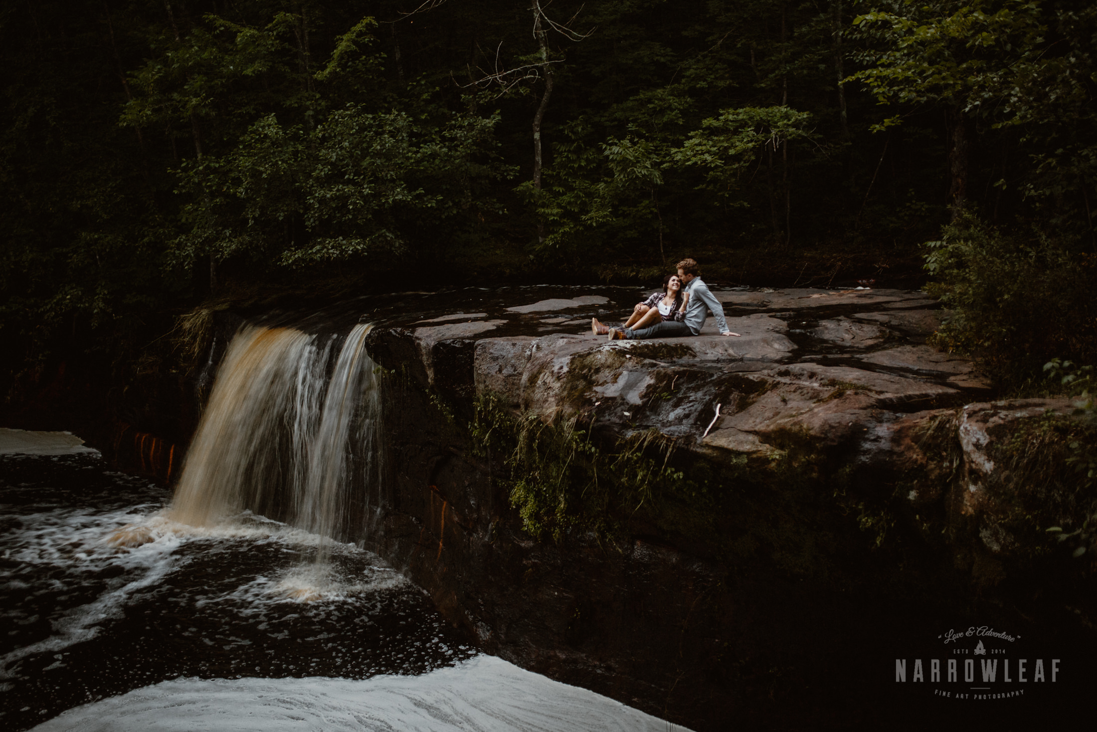 Waterfall engagement photography in Minnesota