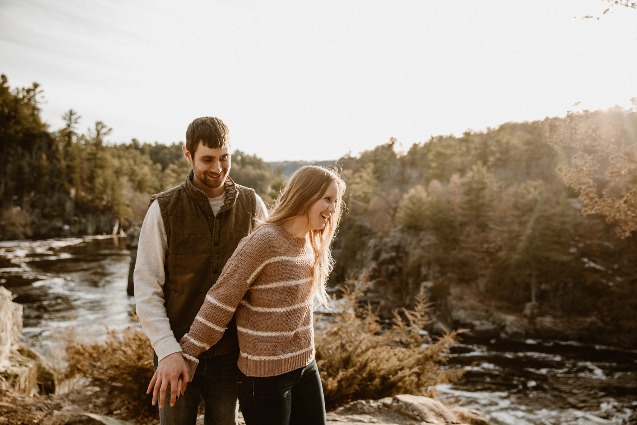Hiking adventure engagement photography in Wisconsin