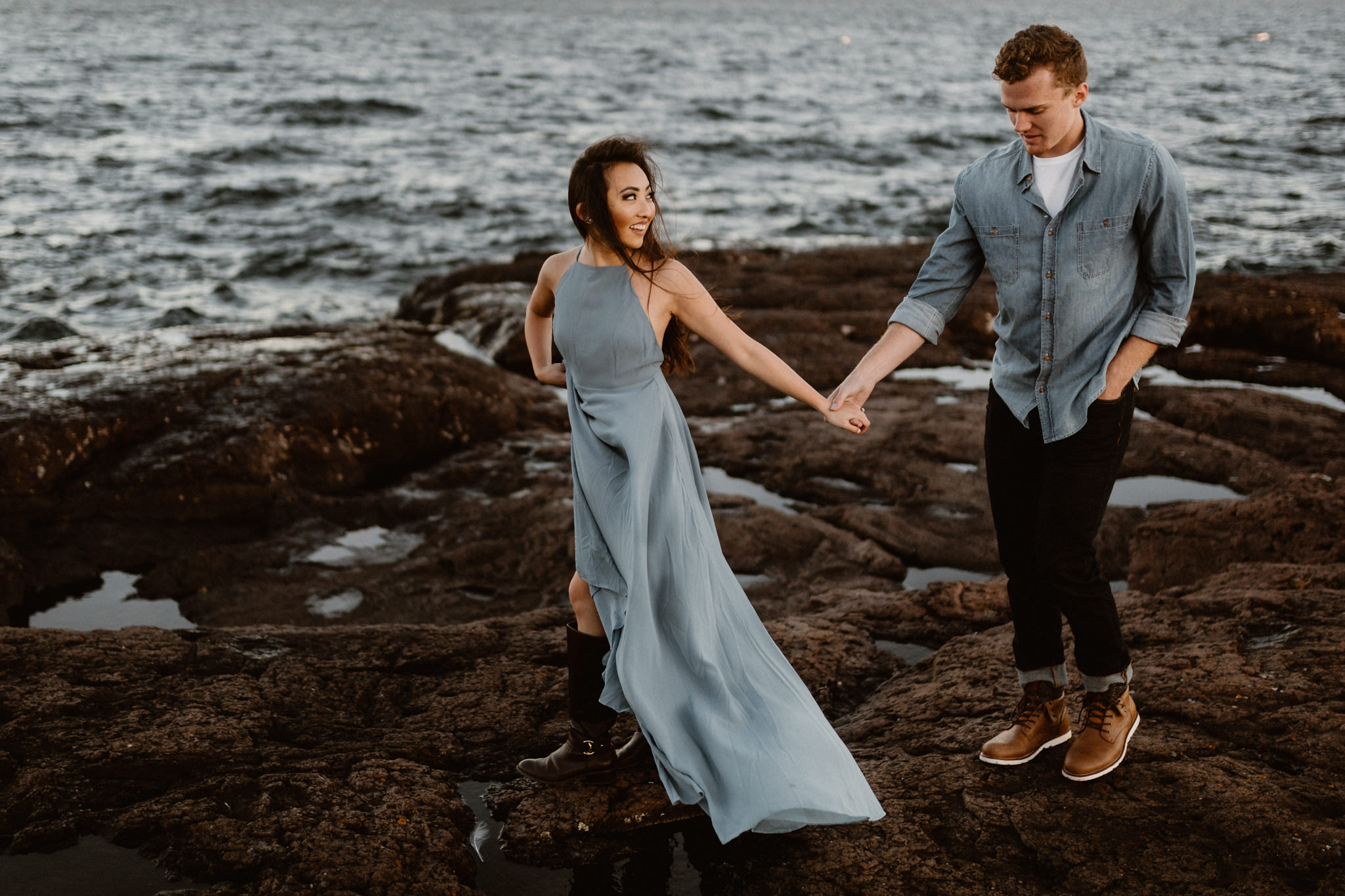 Engagement photography on the North Shore of Minnesota at Gooseberry Falls State Park.