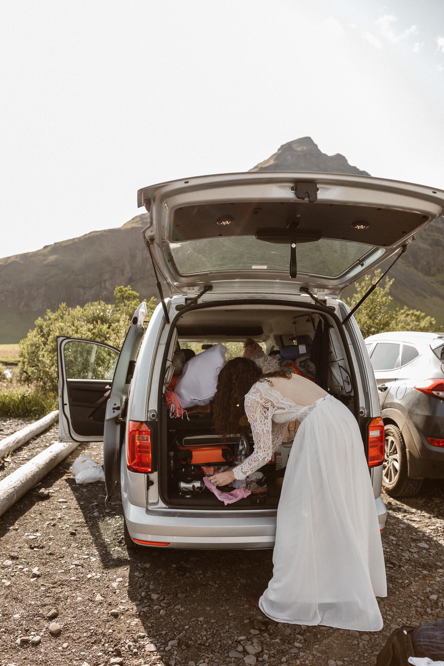 Van life wedding prep in Iceland