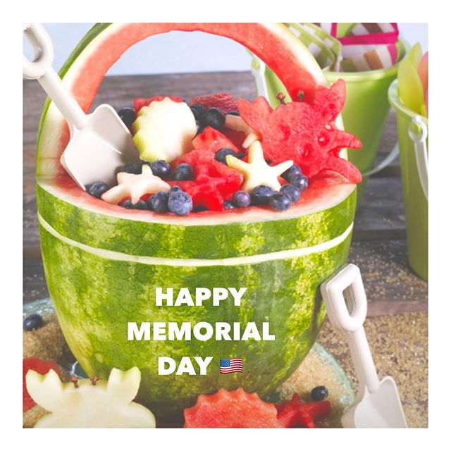 "Happy Memorial Day to everyone, especially all of the brave men and woman who have served this beautiful country! We are lucky to live in the land of the free and home of the brave. Here in Texas, Memorial Day isn't as ""celebrated"" as it is back east because it's always pretty warm here 🌞 but it will still always serves as the unofficial kick off to summer in my mind! I made a yummy watermelon 🍉 basket yesterday at my friend's BBQ and forgot to take a picture but it definitely looked something like this 😉! My sister made one of these years ago and I've always wanted to make one so mission accomplished @alilorenz ! 🇺🇸◽️ #memorialday #summer #usa #watermelonpartytrick #liveleigh #liveleighevents (This also reminds me of a certain bar called Lakeside out in Montauk that used to serve beverages out of sand buckets! @d0o0dles )"