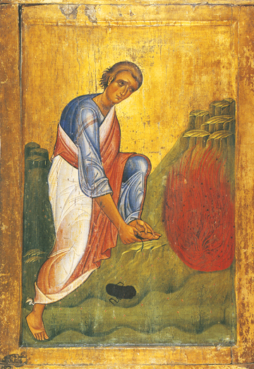 Icon of Moses the Prophet Before the Burning Bush (13th c.)