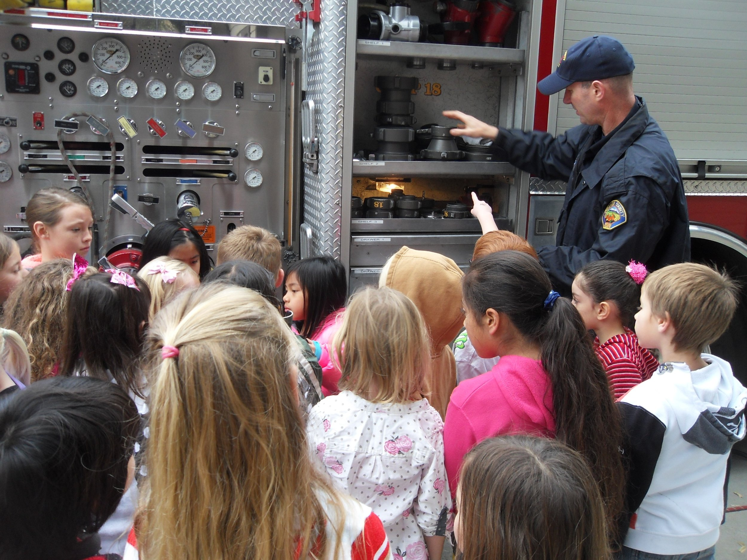 Students had meaningful questions to ask about the firetruck.