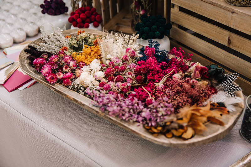 A sampling of our dried floral that guests could select their favorites from