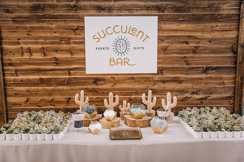 A table setup done by one of our Succulent Bar Specialists