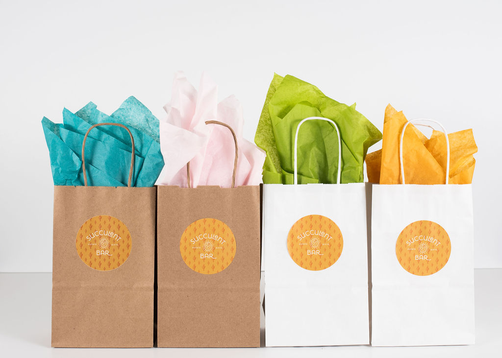 Choose from white or natural brown paper gift bags with handles and tissue paper.