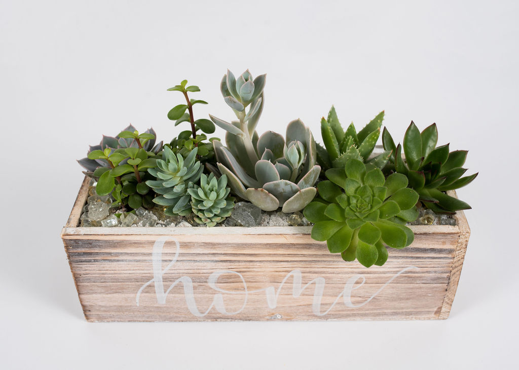 Rustic wood container with optional customized calligraphy