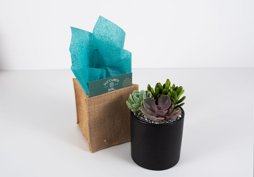 Sleek smooth black container with burlap gift packaging