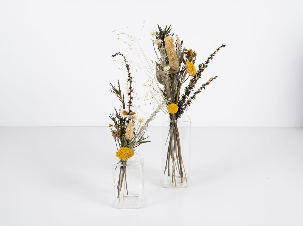 Our budvase containers with dried floral medley.