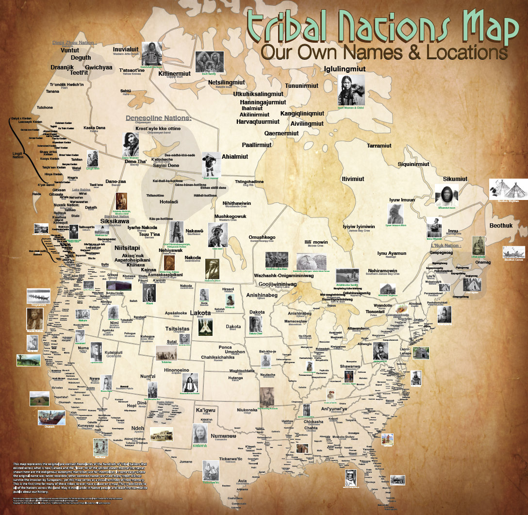 Take a closer look at Aaron Carapella's    map of the continental U.S. and Canada    and his    map of Mexico   . He sells prints on his    website   .    You can download a full PDF of   North American Tribal Nations here (PDF)