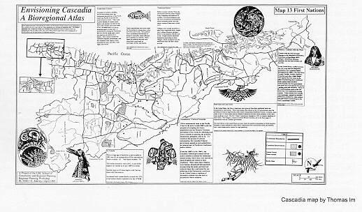 """First Nations"" from the UBC SCARP Cascadia bioregional atlas. Map by Jain Peruniak."