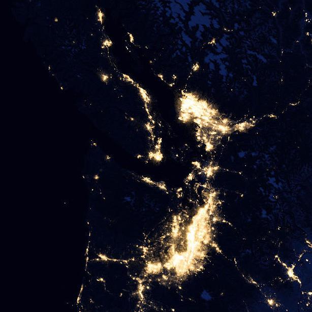 The Salish Sea and Cascadia Megaregion Corridor at night by Satellite.
