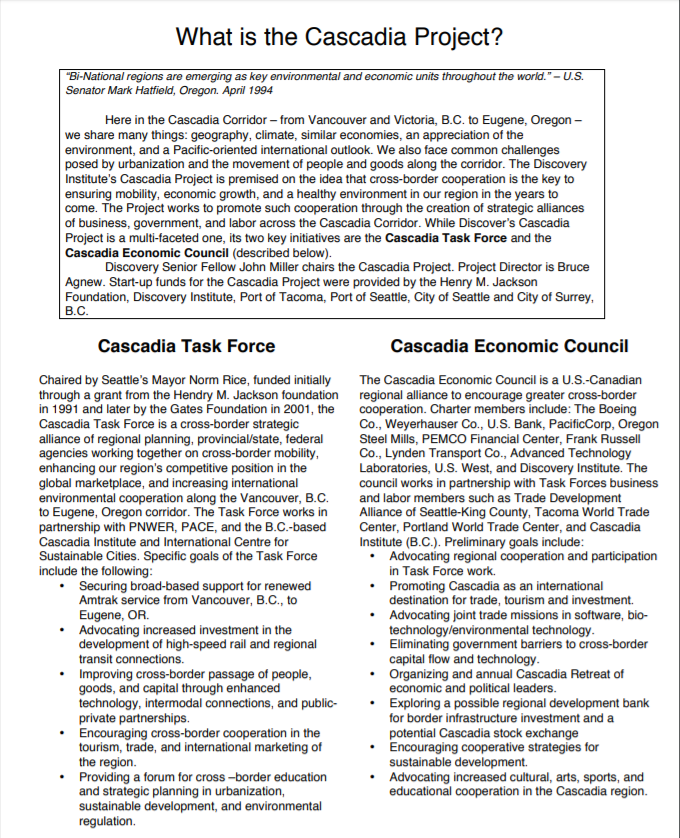 What is the Cascadia Project (PDF)