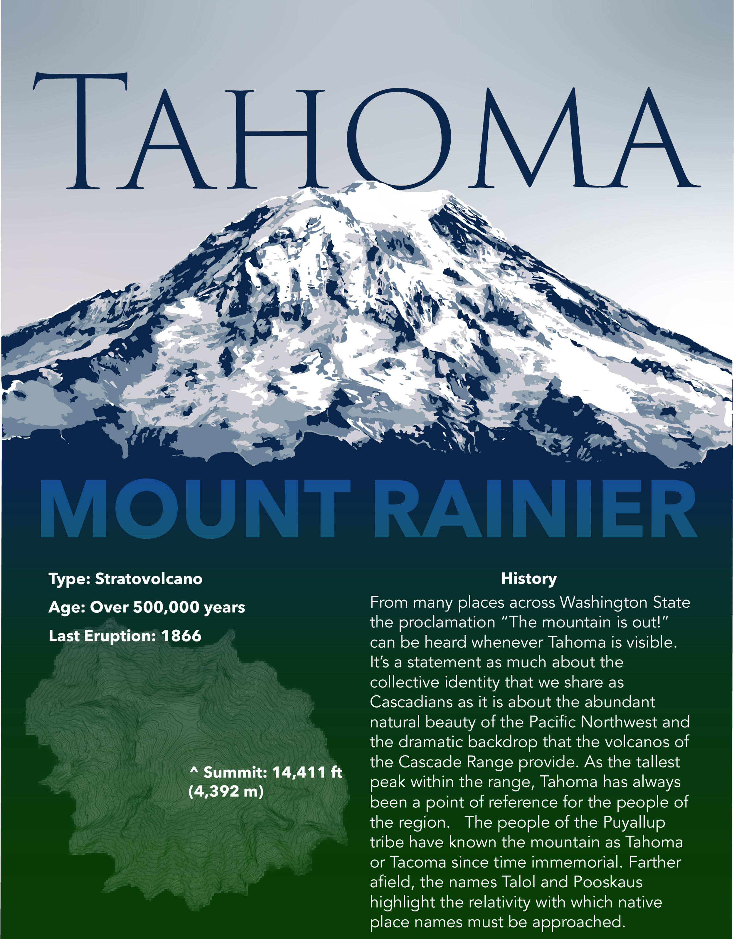 Second in a series of twelve posters recognizing and celebrating the native names of peaks and prominences in the Cascade Range.