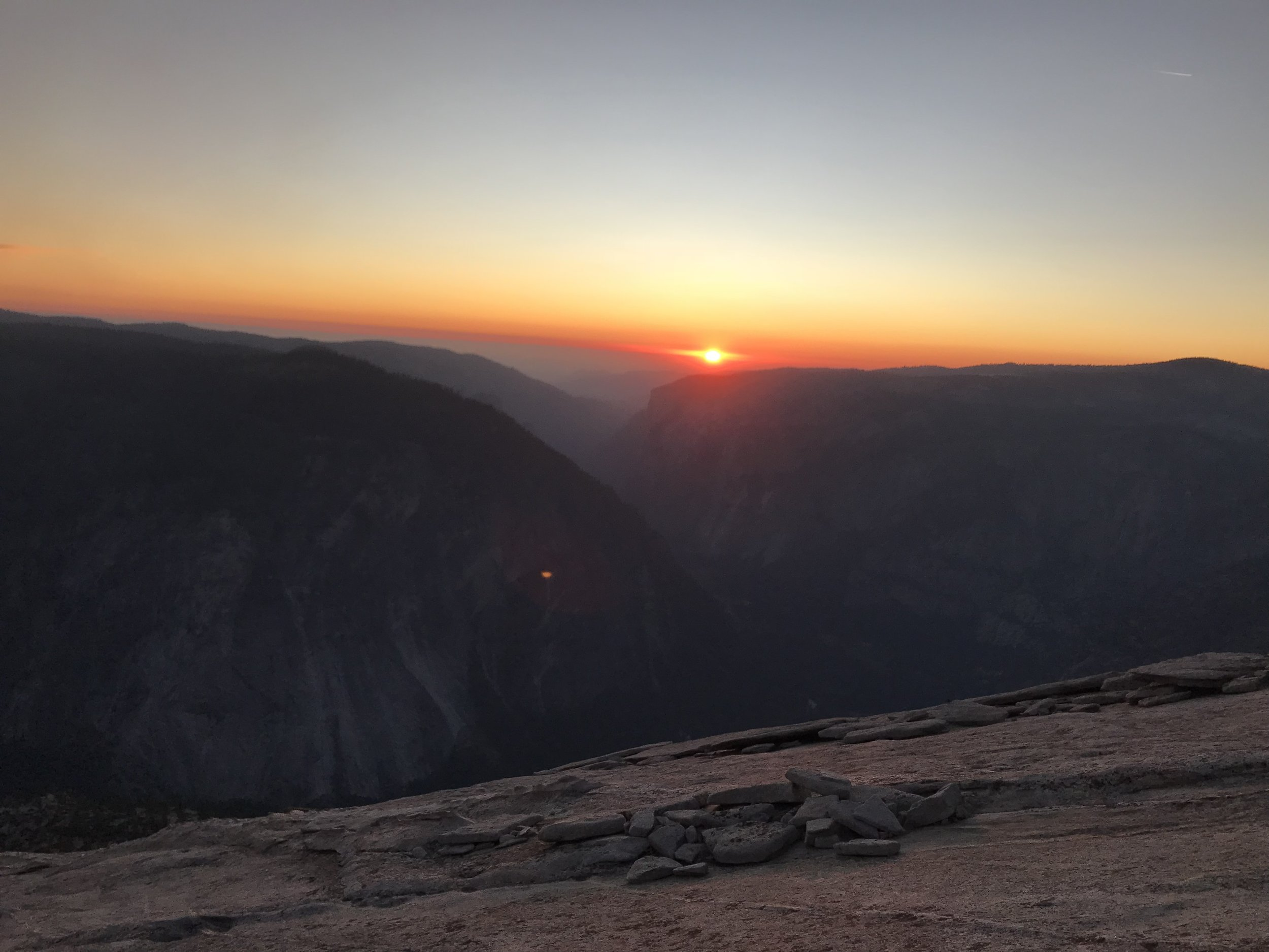 Made it to the Half Dome summit just in time for sun set.